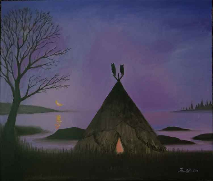 landscape with a wigwam -