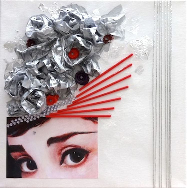 LADY IN SILVER AND RED - Image 0