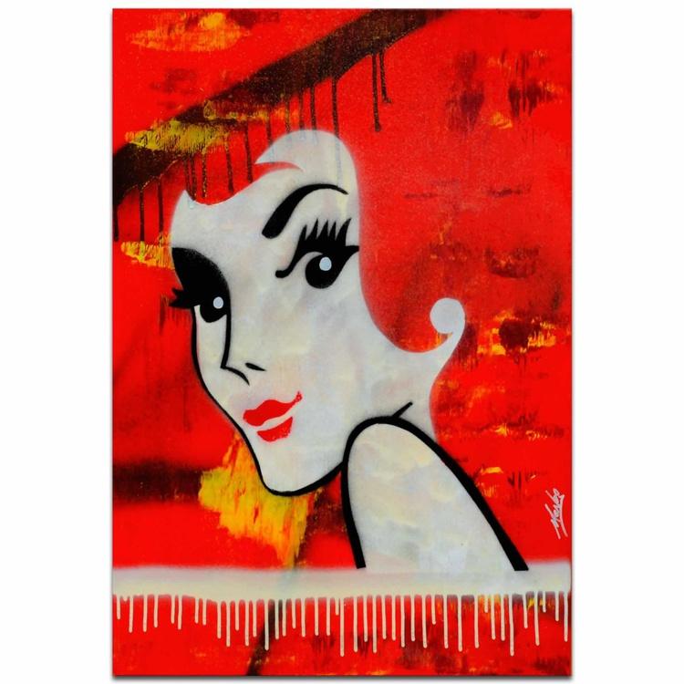 Mendo Vasilevski 'Flaming Redhead' Australian Pop-Art Painting Giclée on Metal - Image 0