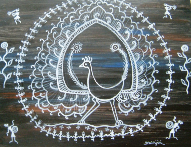 Warli Peacock folk art from India - Image 0