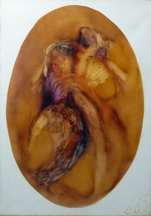 Embrace, oval abstract painting, oil on canvas 92x65 cm, ready to hang - Image 0