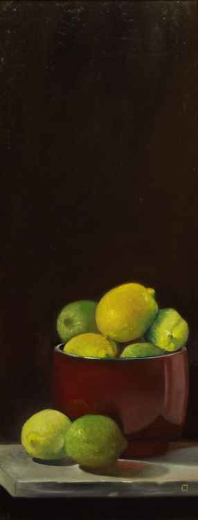 redbowl, lemons and limes -