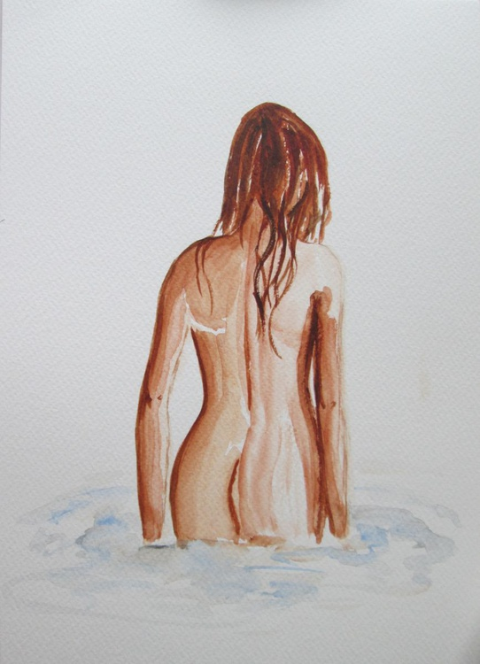 """""""WATER-FAIRY"""", Sketch of Nude in Original Watercolour GIFT MODERN ART OFFICE ADULTS HOME DECOR GIFT IDEA - Image 0"""