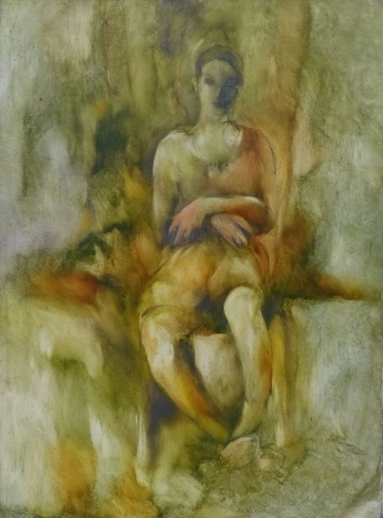 Woman, or The Wise Owl, oil on canvas, 80x59 cm - Image 0