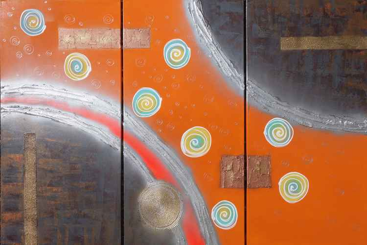 original abstract art orange Large paintings 100x150x2 cm stretched canvas acrylic art rusty metallic textured wall art by artist Ksavera -