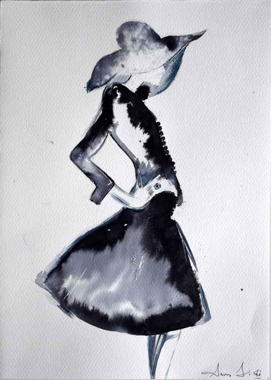 Fashion in ink II / Series of ink painting on paper -
