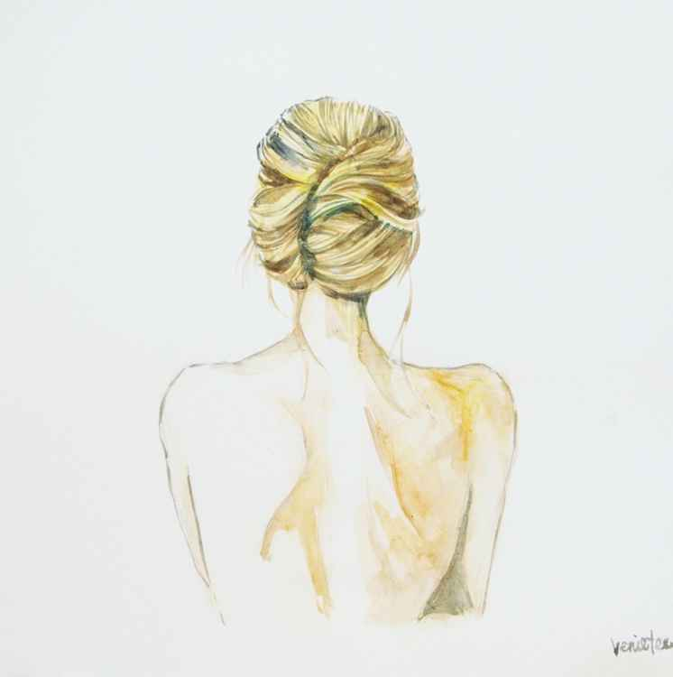 Portrait of a girl, from the back. -