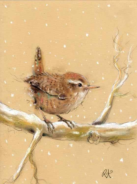 Pretty Little Wren - Pastel bird drawing on paper -