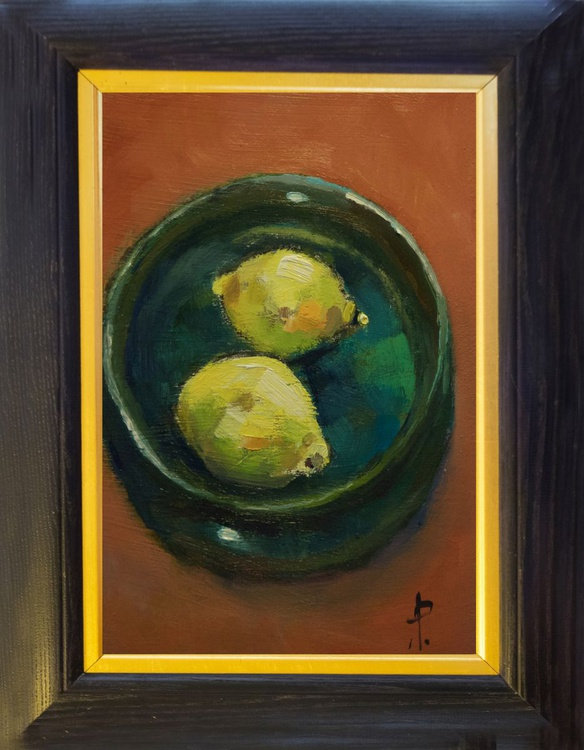 Two Lemons in Green Bowl - Image 0
