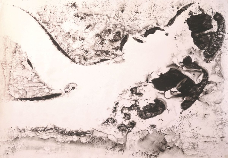 reclining nude . watercolor monotype. 100x70 cm - Image 0