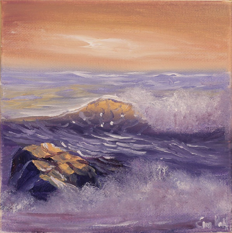 """Ocean Waves VII 6x6"""" small seascape oil painting on deep canvas - Image 0"""
