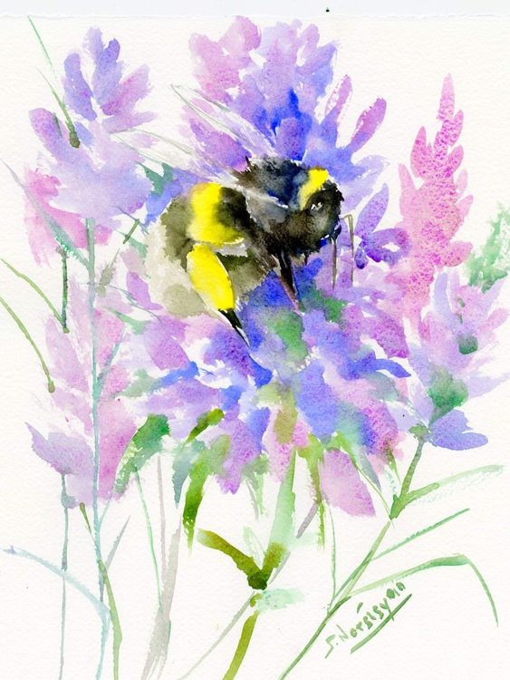 Bumblebee And Lavender Flowers - Image 0