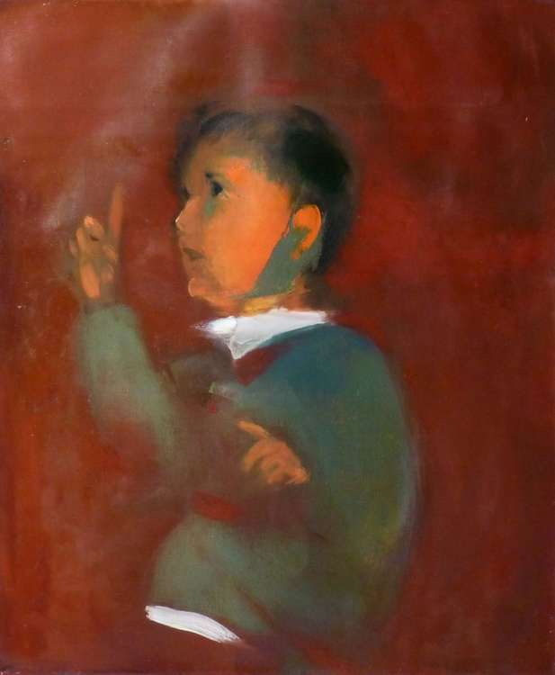 Portrait of a boy, oil on canvas, 46x55 cm - Image 0