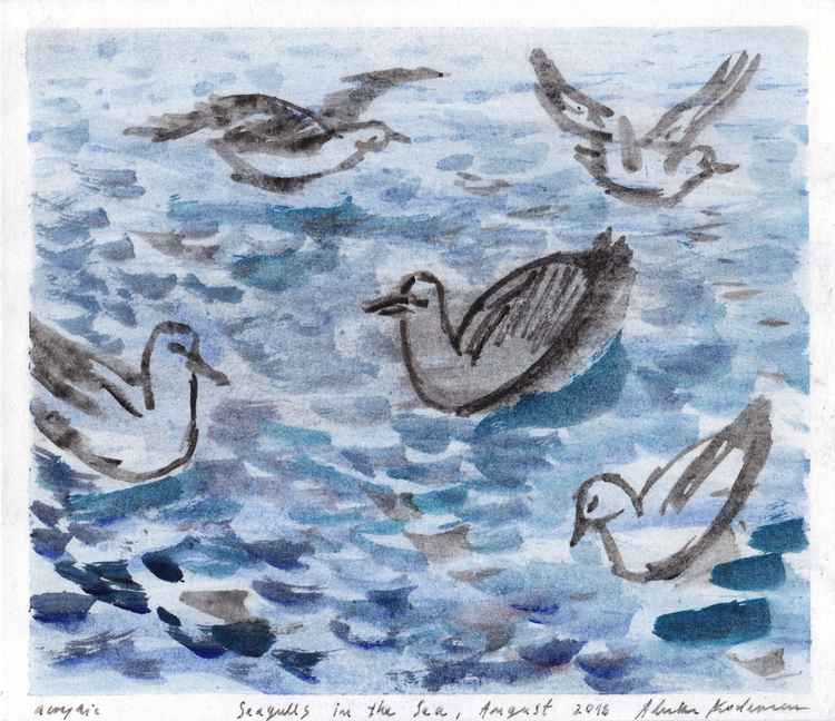 Seagulls in the Sea, August 2016, acrylic on paper, 21 x 24,2 cm