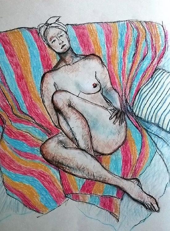 Nude on Striped Blanket - Image 0