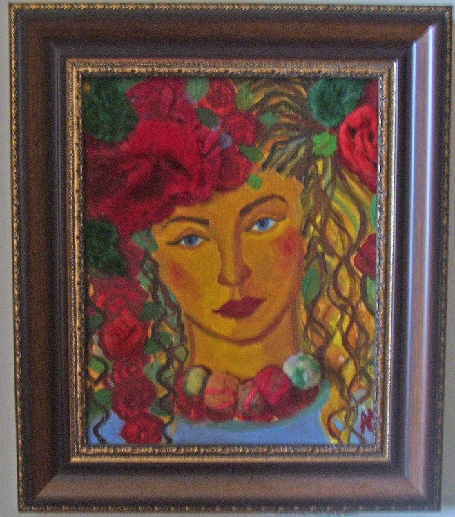 The Golden girl with red roses - Image 0