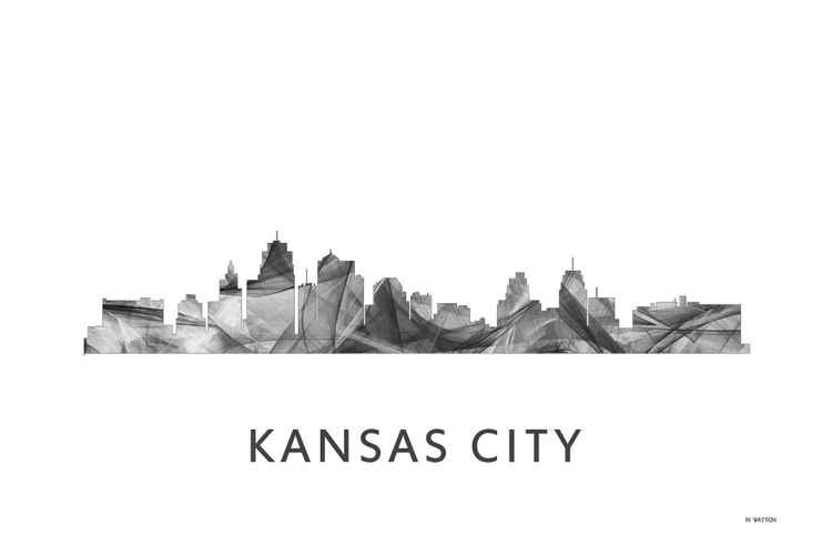 Kansas City Missouri Skyline WB BW -