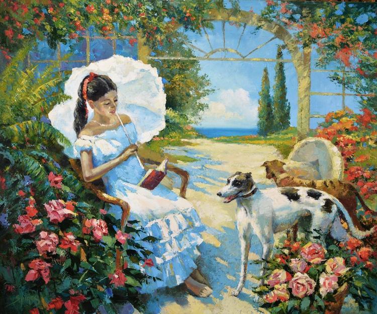 "In the garden - Original Oil palette knife Painting, Size: 89cm x 71cm, (35""x 27"") - Image 0"