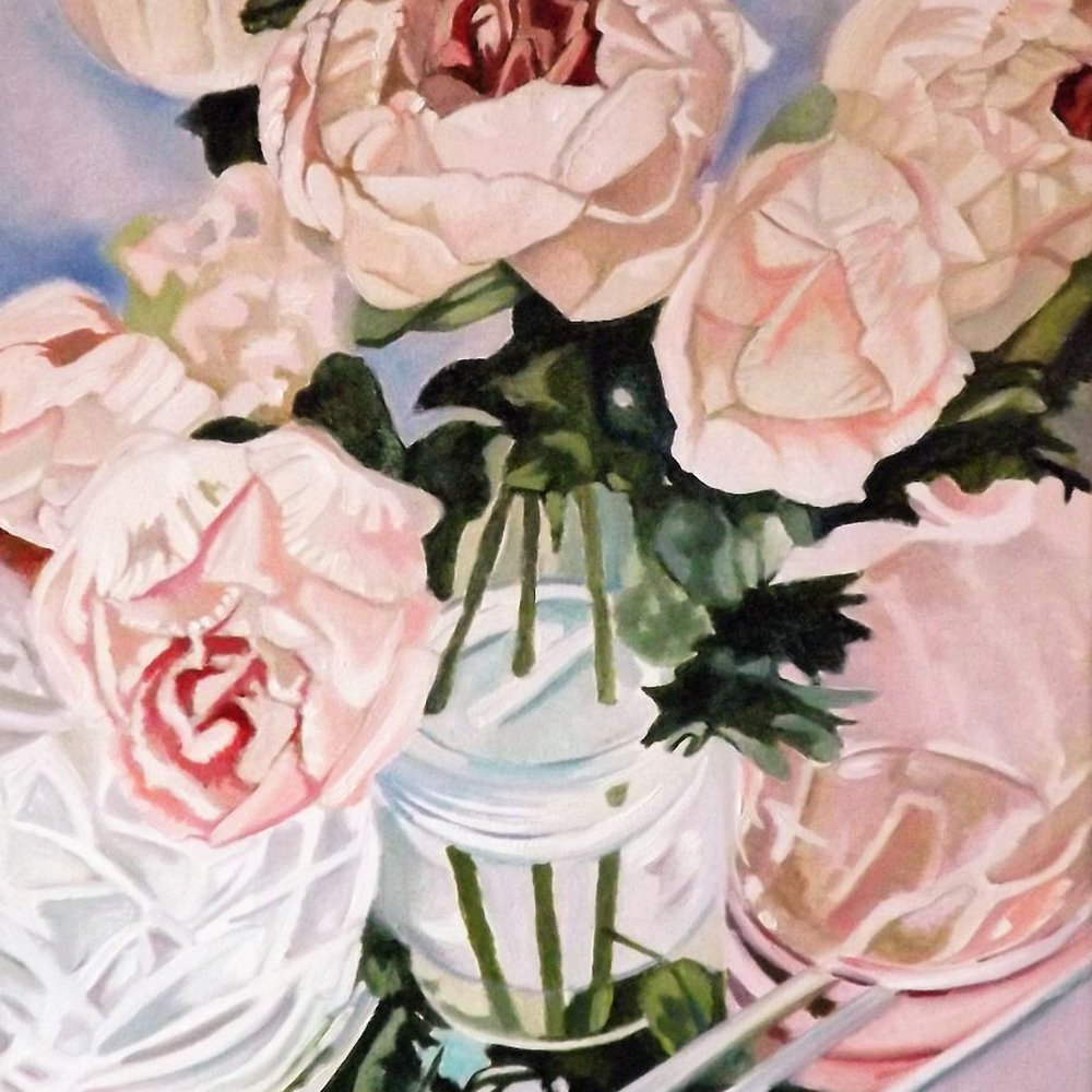 Glass Reflections with peonies by Louisa J  Simpson