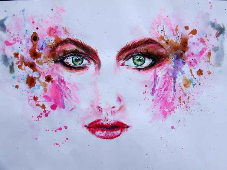 Original Painting of a Beauty with Green Eyes