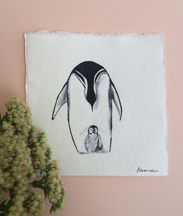 Emperor Penguins, Original Ink Drawing - Image 0