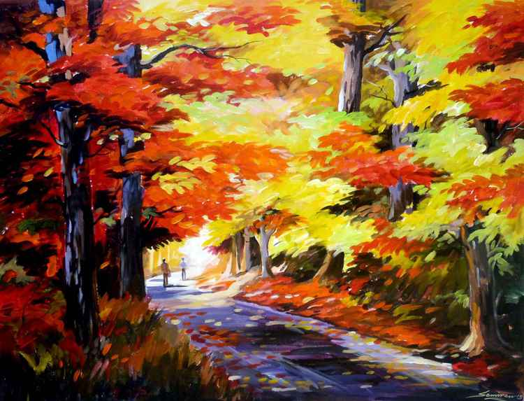 Beauty of Autumn Forest-Acrylic on Canvas Painting