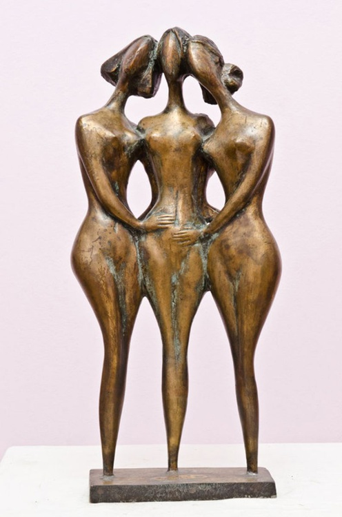Three Friends BRASS 1999year21x9x3in FOR SALE - Image 0