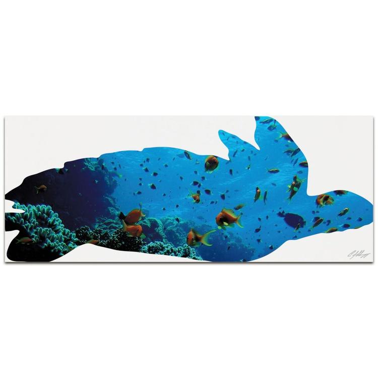 Sea Turtle Seascape | Contemporary Metal Animal Silhouette Art - Image 0