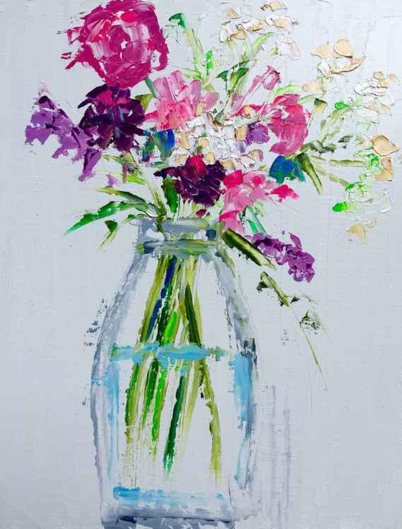 """Vase of wild flowers  14""""x11"""" -"""
