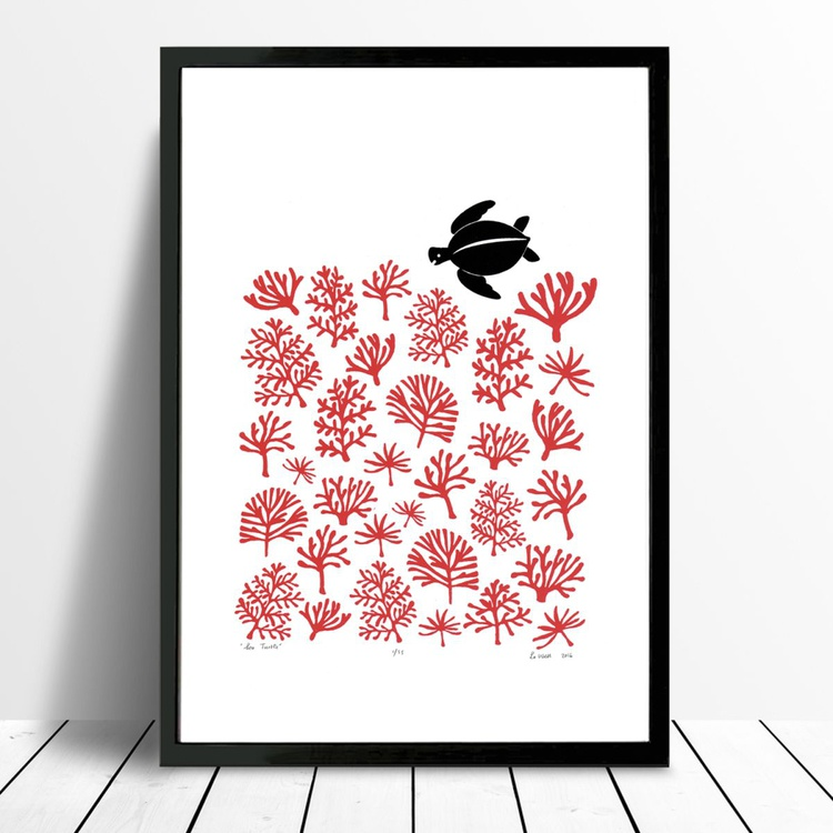 Sea Turtle Print A3 Size in Aurora Red - Framed - FREE UK Delivery - Image 0
