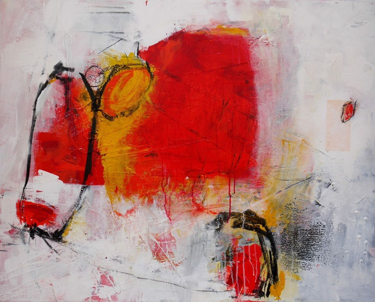 Red Cow | large abstract | red white orange | Acrylic & Collage on Canvas - Image 0