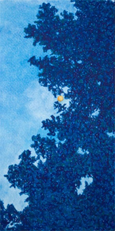 Through the Trees at Night with Moon, Original Pastel Landscape - Image 0