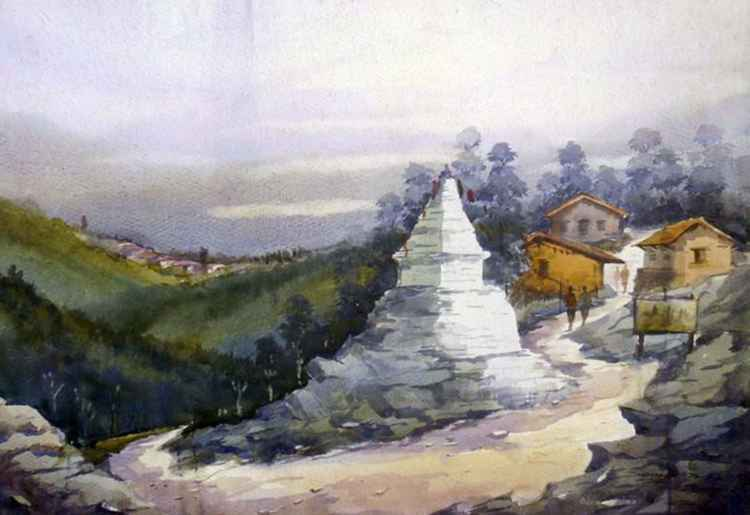 Buddhist monastery and Himalayan Landscape-Watercolor on Paper -