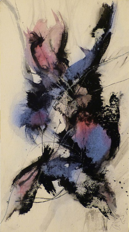 Abstract Blue and Violet, 22x40 cm - Image 0