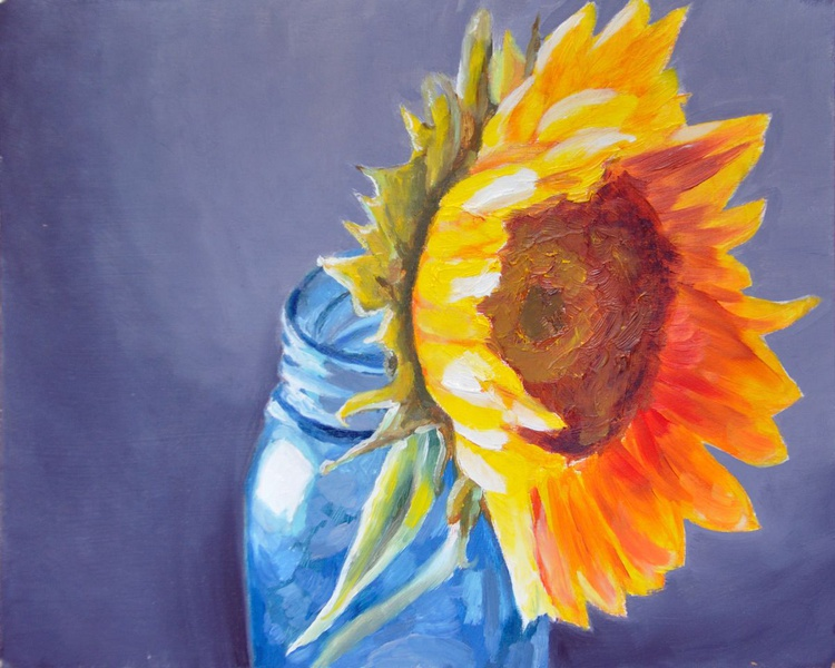 Yellow sunflower in a blue jar - Image 0