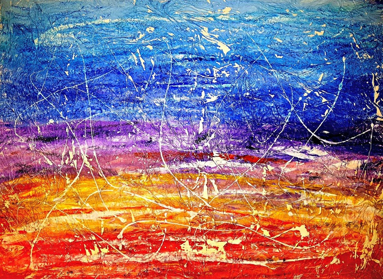 Senza Titolo 205 - abstract landscape - 100 x 75 x 2,50 cm - ready to hang - acrylic painting on stretched canvas - Image 0