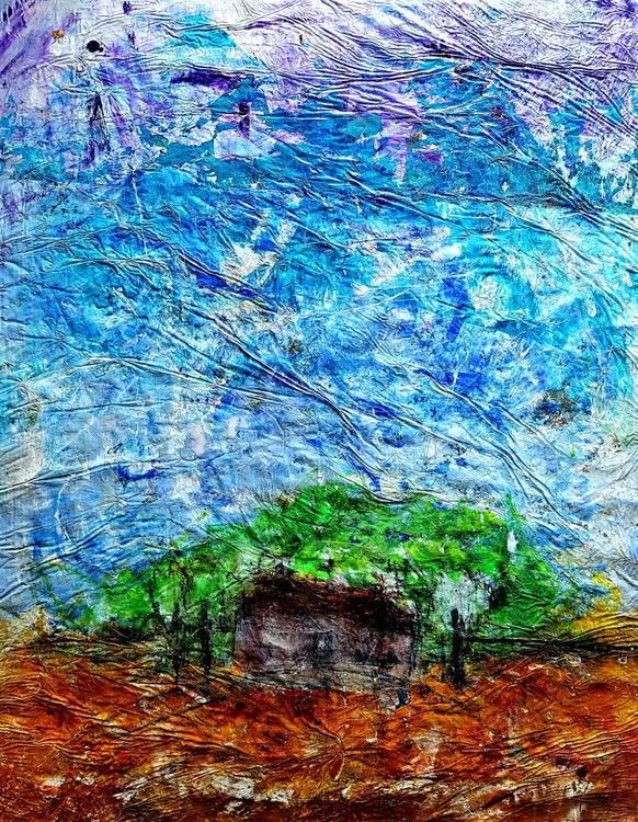 Senza Titolo 198 - abstract landscape - 80 x 110 x 2,50 cm - ready to hang - acrylic painting on stretched canvas - Image 0