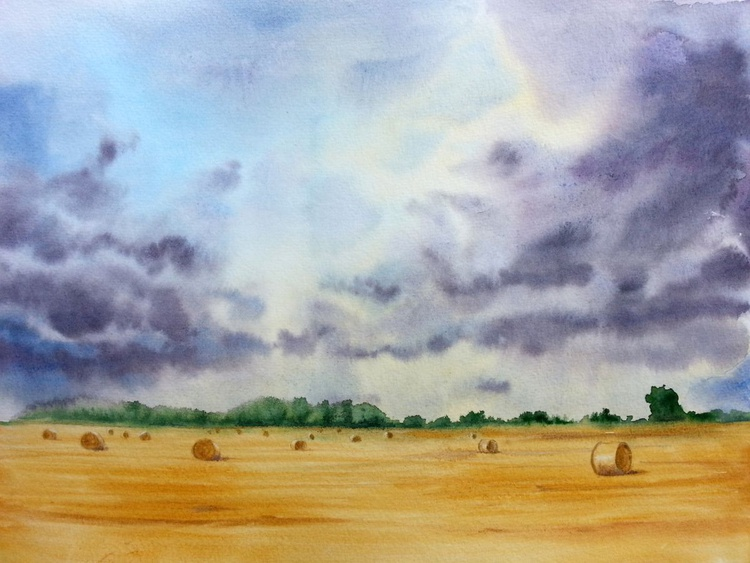 Rural Scenery, hay rolls, stormy sky, countryside painting - Image 0