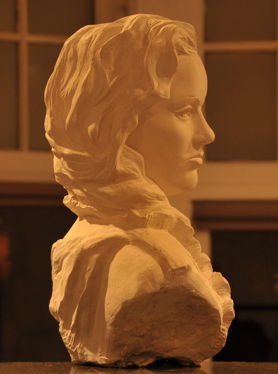 Mariana Classical portrait bust of Young Lady in soft alabaster white tone, life size, figuartive idealised - Image 0