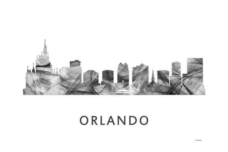Orlando Florida Skyline WB BW -