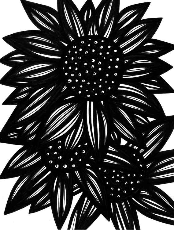 Pernicious Three Flowers Original Drawing -
