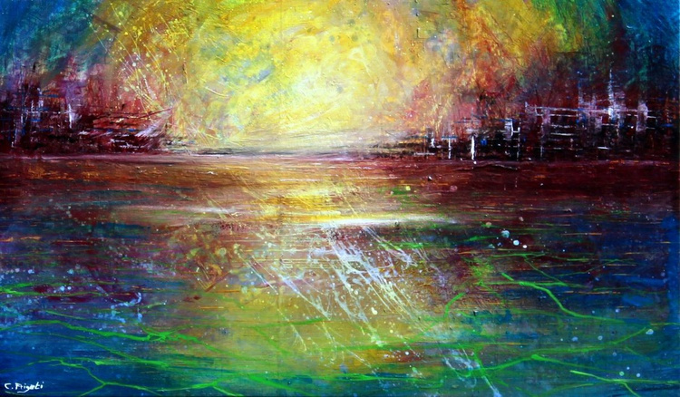Break the day with me - abstract landscape on deep edge canvas - Image 0