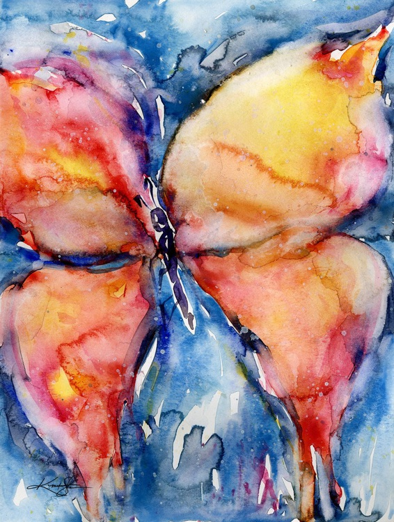 Butterfly Fantasy No. 2 - Abstract Butterfly Watercolor Painting - Image 0