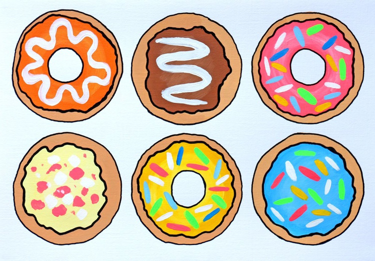 Donuts 3 Pop Art Painting On A4 Paper - Image 0