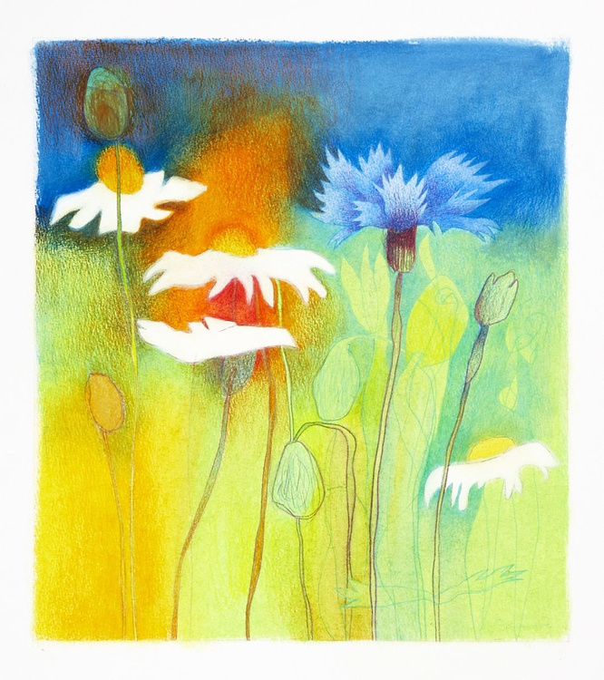 Wildflowers vii - Mixed Media - Oil Pastel and Crayon - Image 0
