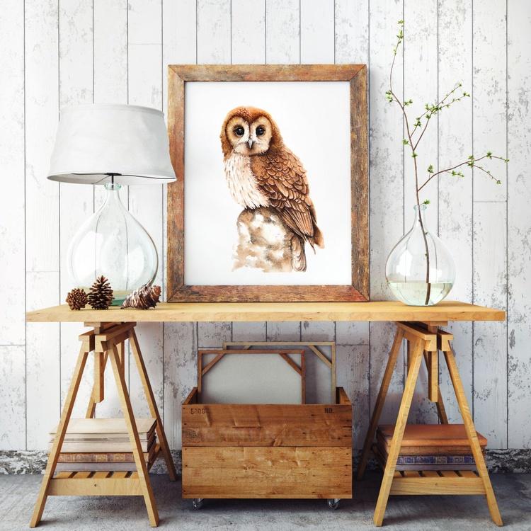 OWL,  bird, birds, animals, wildlife watercolour painting - Image 0
