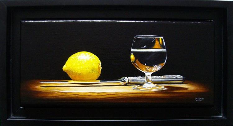 Lemon with knife and brandy - Image 0