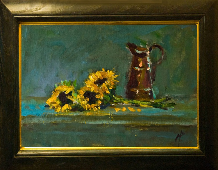 Sunflowers next to Copper Jug - Image 0