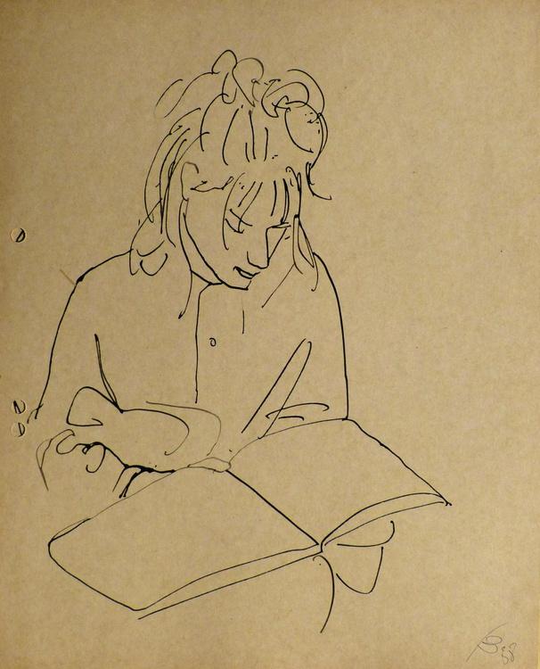 Beautiful girl reading a big book, 22x27 cm - Image 0