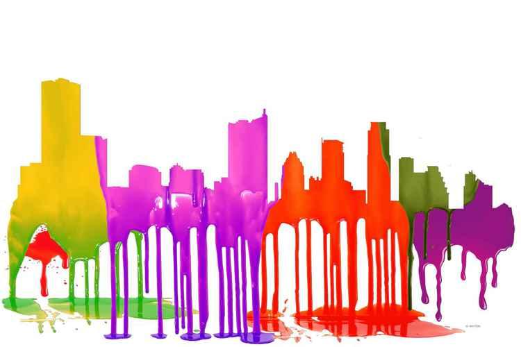 Austin, Texas Skyline - Puddles